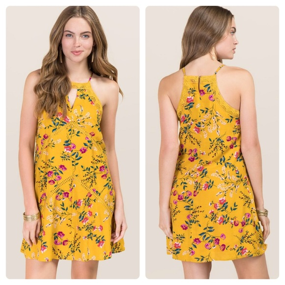 7d80971d9ba Francesca s Yellow Floral Lace Halter Shift Dress